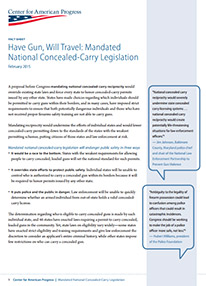 Have Gun, Will Travel: Mandated National Concealed-Carry Legislation Fact Sheet